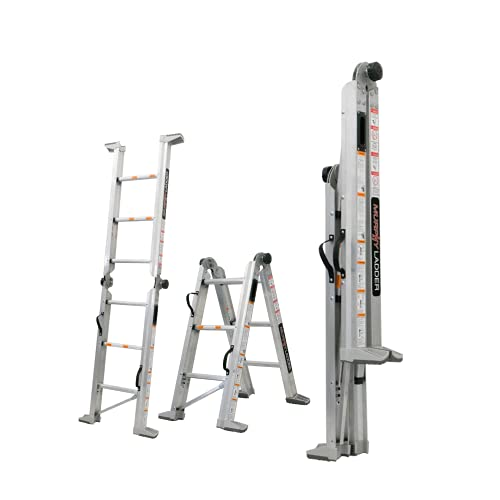 Murphy Ladders - ML7 Heavy Duty Aluminum Ladder - 7ft Height with 10ft Reach - Compact, Foldable Ladder for Easy Storage - Type IAA, Holds 375 lbs…