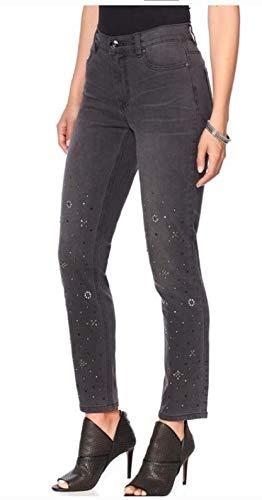 Diane Gilman DG2 570-469 Womens' Gray Stretch Embellished Skinny Jeans (24T)