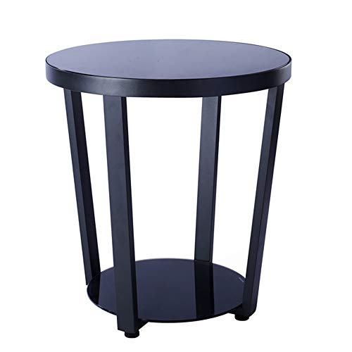 ZZHF La Table de Nuit Table d'appoint, Tables de Chevet, Petite Table Basse Ronde , Table en Verre trempé avec Cadre en Acier trempé et Table en Acier Noir Table d'angle