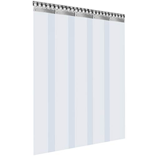 VEVOR Streifenvorhang PVC 1,25 x 2,25 m Lamellenvorhang mit 5 transparenten Streifen und Temperaturbeständigkeit kann Geräusche reduzieren, Innenräume warm halten, Schädlinge schützen für viele Orte