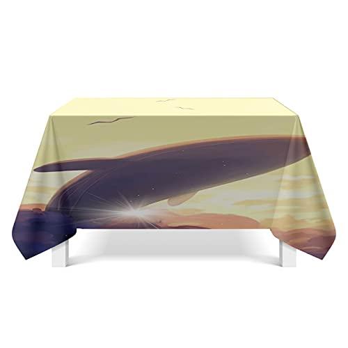 CYYyang Tela de Tabla Antideslizante del algodón del Poliester Cubierta Simple de la Tabla de la Manera Ballena Art Deco