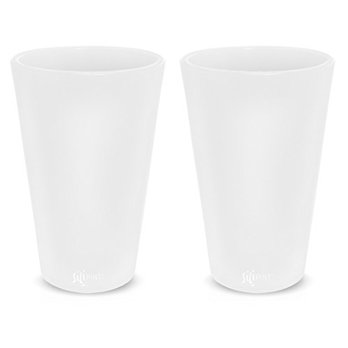 Silipint Silicone Pint Glasses, Patented Unbreakable Pint Glass from, Set of 2 Frosted 16oz