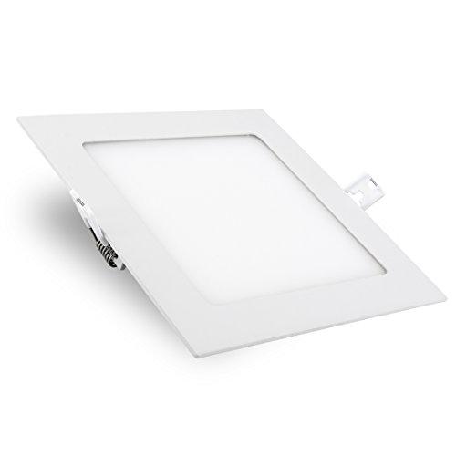 Viereckiger LED Panel Einbau Deckenstrahler (226 x 226 mm) mit IP44 Wasserschutz, 18W, warmweiß, 230V inklusive Trafo