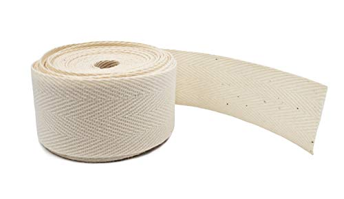 1' Cotton Herringbone Twill Tape - Natural - 5 Yards. Earth Friendly...