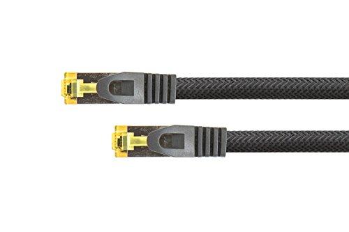 PYTHON RJ45 Ethernet LAN Patchkabel mit Cat. 7 Rohkabel, mit Rastnasenschutz RNS und Nylongeflecht, S/FTP, PiMF, halogenfrei, 500MHz, OFC, 10-Gigabit-fähig - schwarz, 10m