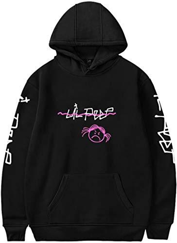 OLIPHEE R.I.P. Lil Peep Rapper Felpa con Cappuccio Stampato Lovers Cool Pullover per Donna Cry Nero-B X-Small