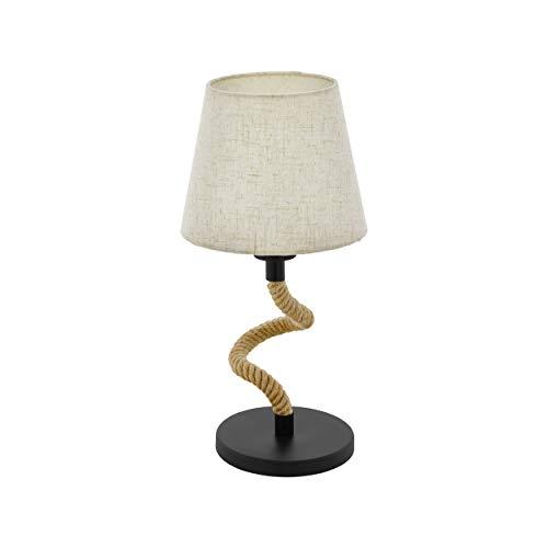 EGLO Tischlampe Rampside, 1 flammige Vintage Tischleuchte im Industrial Design, Nachttischlampe aus Stahl und Stoff, Fassung: E27, inkl. Schalter, Farbe: schwarz, crème