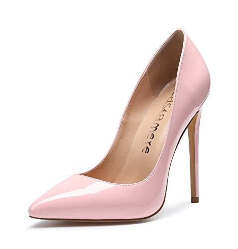 CASTAMERE Scarpe col Tacco Donna Stiletto Tacco Alto Nozze Festa High Heels Sexy Eleganti Scarpe 12CM Tacco Pelle Verniciata Rosa Scarpe EU 40