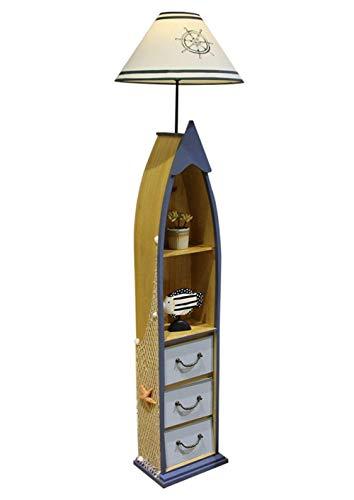 LJYY Lámpara de Lectura Moderna para Dormitorio, lámpara de pie con estantes, Sala de Estar, luz de pie de edición de cajón de Madera de 3 Capas, Oficina, decoración del hogar (sin Bombilla) -