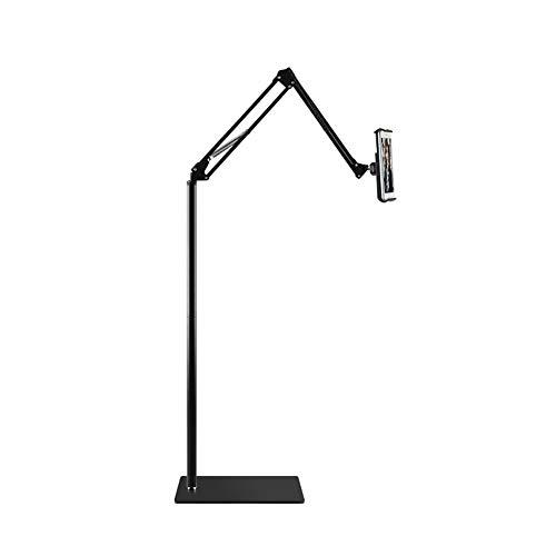 NessKa Soporte de pie para teléfono móvil, tableta, atril para libros electrónicos, cama, sofá, cocina, soporte de adecuado para iPad 10,2 10,9 Air Pro Galaxy Tab A7 S6 Lenovo M10 negro