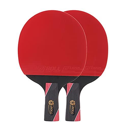 LINGOSHUN Raquetas de Ping Pong de Fibra de Carbono de 6 Estrellas para Mayor Control,Giro,2 Raquetas de Tenis de Mesa/Double/B