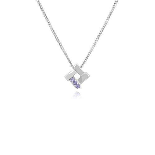 Gemondo Tanzanite Necklace, 925 Sterling Silver 0.05ct Tanzanite Crossover Pendant on 45cm Chain