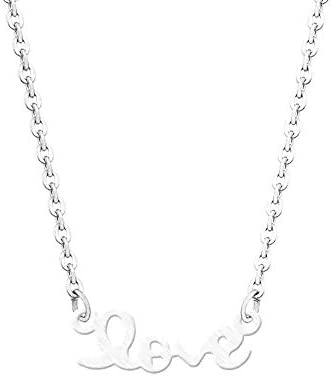 Ballari Womens Delicate Love Pendant Necklace Silver Stainless Steel Love Word Necklace for product image