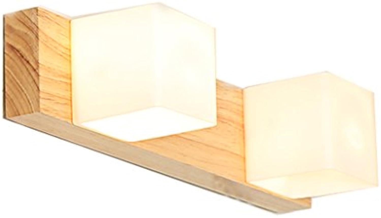 HOHE SHOP- Massivholz Spiegel Scheinwerfer Einfache Wohnzimmer Wand Lampe Schlafzimmer Nachttisch Lampe Bad Led Holz Lampen (gre   37cm)