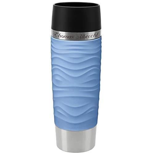 Emsa Thermobecher Travel Mug Waves Grande Puder-Blau 500 ml mit Rund-Gravur gelasert Edelstahl Soft-Touch-Manschette mit Quick Express Verschluss