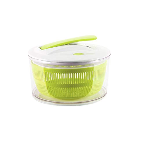Salatschleuder - 2 in 1 weist eine Dehydratation Funktion Gemüse leicht Basisdruckhebelbetätigung rutschen, Rotationstrockner Haushaltsküche (grün)
