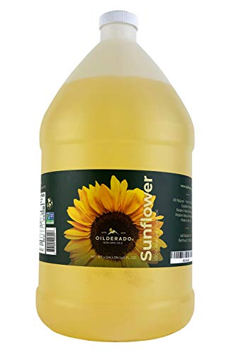 Oilderado Sunflower Oil, Naturally Expeller Pressed, Non-GMO Certified, Sunflower Cooking Oil, High-Heat Cooking, Great for Dressings, Marinades, and Frying, 1-Gallon