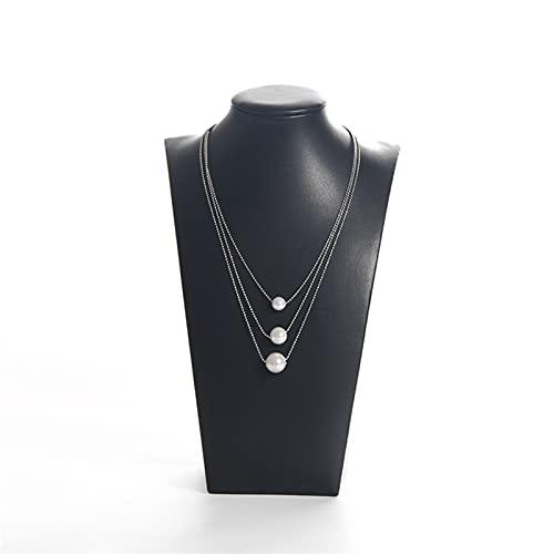 JSJJAUJ Tesora Porta Gioie Moda PU. Supporto for la visualizzazione dei Gioielli del Ciondolo del Supporto della Collana for Lo Spettacolo (Color : Black, Size : M)