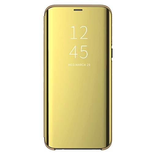 Funda Compatible With Huawei P Smart Plus 2018(Nova 3i)/ P Smart 2017,PC Espejo Cáscara para P Smart+ 2018(Nova 3i)/ P Smart 2017 Case Protección Standfunción (Dorado, P Smart Plus 2018(Nova 3i))
