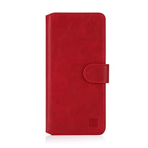 32nd Essential Series 2.0 - PU Leder Mappen Hülle Flip Hülle Cover für Samsung Galaxy A10 (2019), Ledertasche hüllen mit Magnetverschluss & Kartensteckplatz - Rot