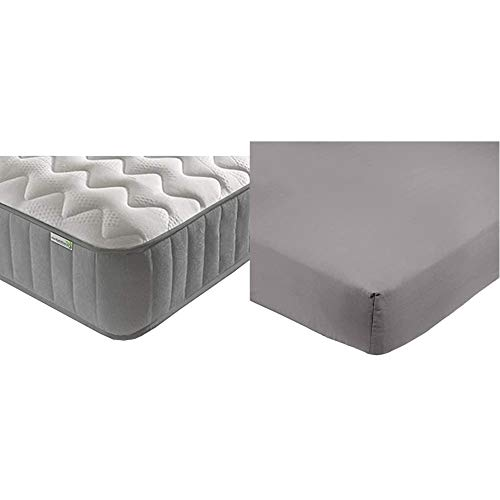 Starlight Beds Sprung Value 4ft6 Double Mattress 1385-46 & AmazonBasics Microfibre Fitted Sheet, Double, Dark Grey