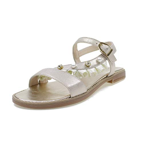 ANDREA MORELLI Sandalias DE Cuero Made IN Italy con Perlas Chica M4A250400 Platino Tamaño: 37
