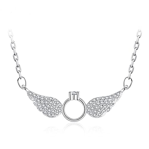 HCMA Collares Colgantes de alas de ángel de circonita Exquisita de Plata para Mujeres, Regalo de San Valentín, el Regalo Ideal para Mujeres