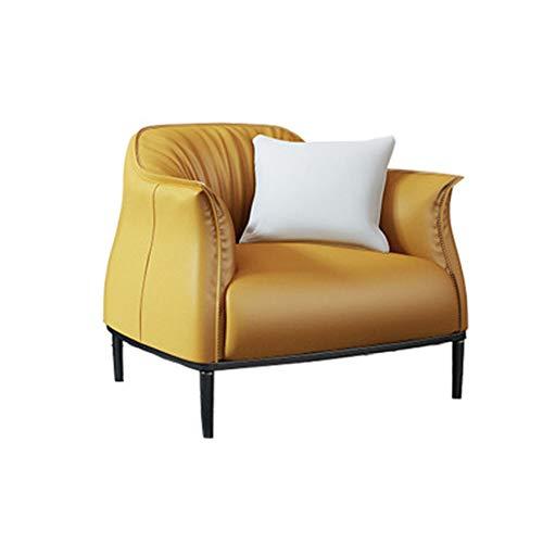 Belleashy - Sillón de piel sintética para salón, dormitorio, club, oficina, 3 colores, esponja, amarillo claro, 80x78x78cm
