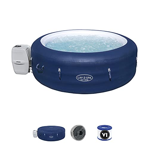 Lay-Z-Spa Saint Tropez Hot Tub with 140 Airjet Massage System with Floating LED light. Includes optional Wi-Fi control with Alexa & Google Assistant. 4-6 Person, exclusive to Amazon