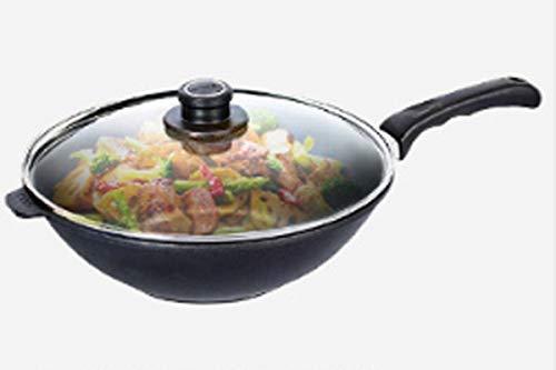 8haowenju Pan, Wok estándar de Titanio de Cocina, Wok de Titanio de 12 Pulgadas, Temperamento Negro (Color : Black)