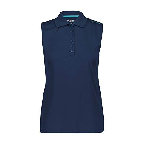 CMP Damen Einfarbiges Ärmelloses Poloshirt, Blue, D42