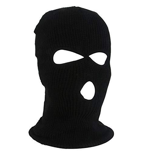 AmyGline 3-Loch-Vollmaske Skimütze Wintermütze Balaclava Tactical Mask Skimütze Wollmaske (Z001-Schwarz-3Loch)