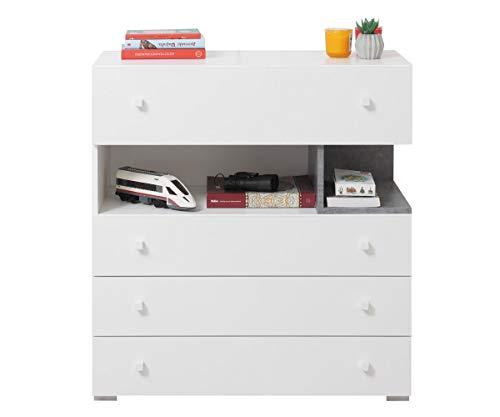 Furniture24 Kommode Schubladenkommode Sigma SI - 11 mit 4 Schubladen (Weiß Lux/Beton)