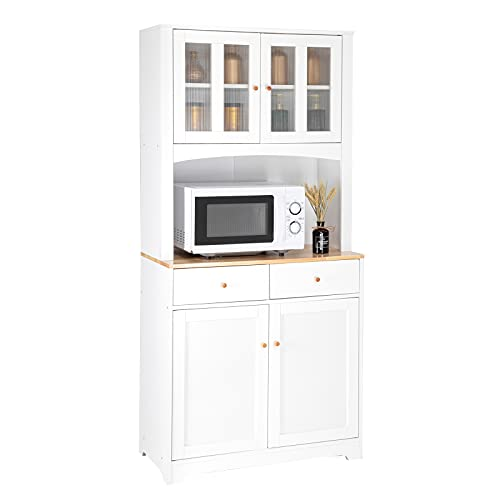 VINGLI Buffet Cabinet with Hutch Kitchen Pantry Storage Cabinet White Sideboard for Kitchen Storage Microwave Cabinet with Storage, 4 Doors, 2 Adjustable Shelves & 1 Drawers
