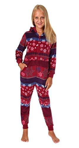 Meisjes jumpsuit overall pyjama Onesie - Norwege sterren look - 281 467 97 951, Kleur: rood, Maat: 128