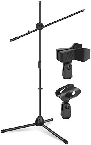 Kadence Mic Stand Heavy Duty Adjustable Dual Microphone Stand, Studio Microphone Stand (NK30 Black)
