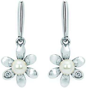 .925 Sterling Silver Diamond and White Faux Pearl...