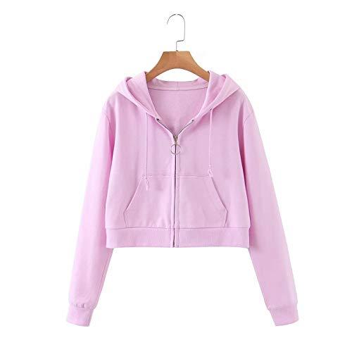 HOSD Abrigo de suéter con Capucha con Cremallera y Anillo de Primavera y otoño para Mujer