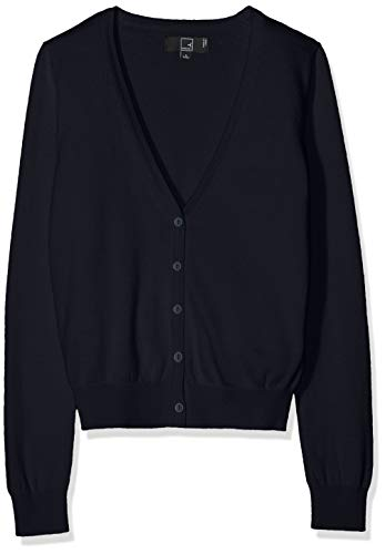 Amazon-Marke: MERAKI Baumwoll-Strickjacke Damen mit V-Ausschnitt, Blau (Navy), 40, Label: L