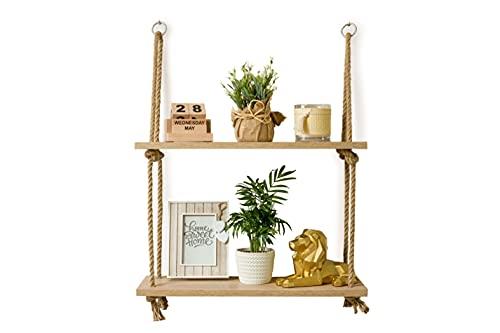Estantería de madera para colgar con cuerda, estantería de pared, columpio de pared, estantería colgante de pared con cuerda de yute, decoración bohemia de 2 animales (roble Sonoma)