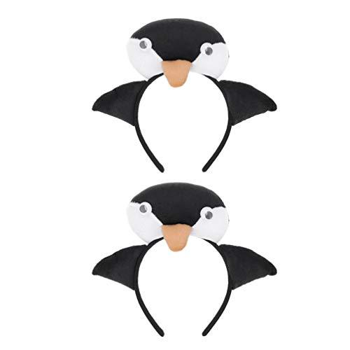 PRETYZOOM Penguin Headband 3D Animal Costume Headband Head Loop Headpiece Headdress Easter Birthday Earth Day Party Favor Supplies 2pcs
