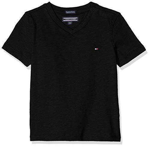 Tommy Hilfiger Jungen Boys Basic Vn Knit S/S T-Shirt, Schwarz (Meteorite 055), 164 (Herstellergröße: 14)
