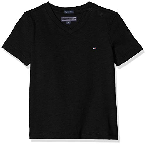 Tommy Hilfiger Boys Basic Vn Knit S/s Camiseta, Negro (Meteorite 055), 176 (Talla del Fabricante: 16) para Niños