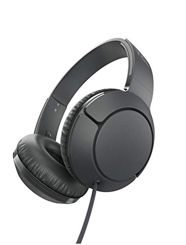 TCL Mtro200 On-Ear Wired Headphones Super Light Weight Headphones with 32mm Drivers for Huge Bass and Built-in Mic – Shadow Black (MTRO200BK)