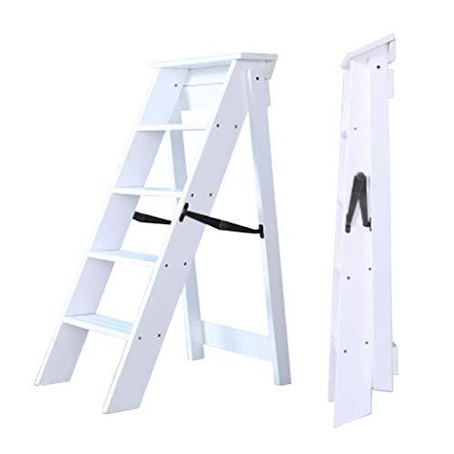 Daily Equipment Taburete con peldaños de madera Lugares altos en la cocina Armario de baño Silla de escalera plegable de madera maciza Taburete de escalera multifunción para el hogar Pedal de 5 cap