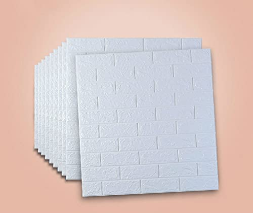 Azulejos de pared autoadhesivos, 70 x 77 cm, 3D ladrillo blanco pegatinas de pared DIY impermeable panel de espuma PE para sala de estar dormitorio (10 unidades)