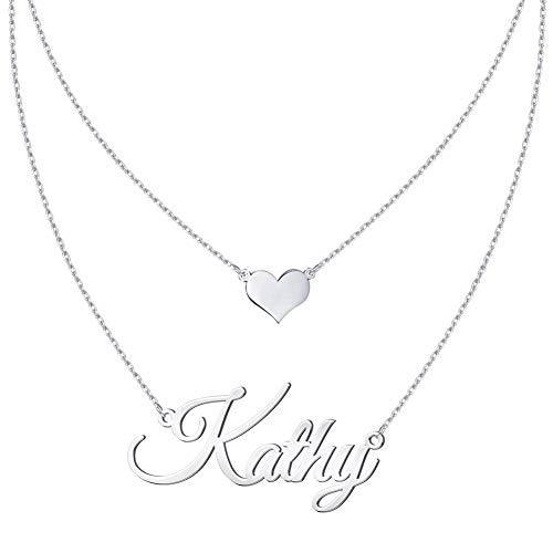 MeMoShe Namenkette,Ketten mit Gravur Name,Personalisierte Kette Sliber/Gold/Rose Gold,Personalisiert Geschenk für Mutter,Tochter,Paar