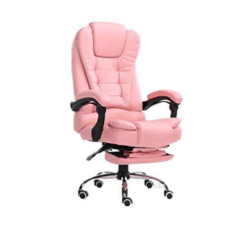 HYKISS Ergonomischer Spielstuhl Bürostuhl, Schreibtisch hochwertiger Kunstleder-Stuhl, der elektrischen Massage-Funktionsstuhl stützt (Color : Rosa)