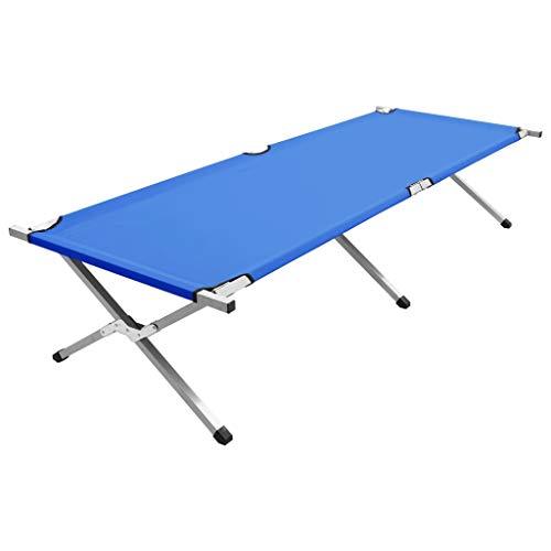 Kshzmoto Cama de Camping Catre Plegable Multiuso Cama de campaña Cama Acampada para Camping Plegable Azul XXL 210x80x48 cm
