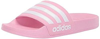 adidas unisex child Adilette Shower Sandal, True Pink/White/True Pink, 4 Big Kid US